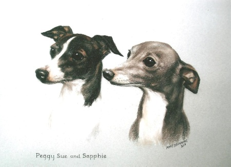 Head study of two Italian Greyhounds by Mary Browning